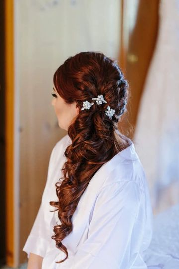 Long locks curled with decorative pins
