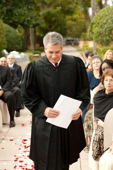 Officiant enters the wedding
