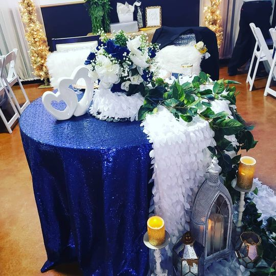 Blue couples table