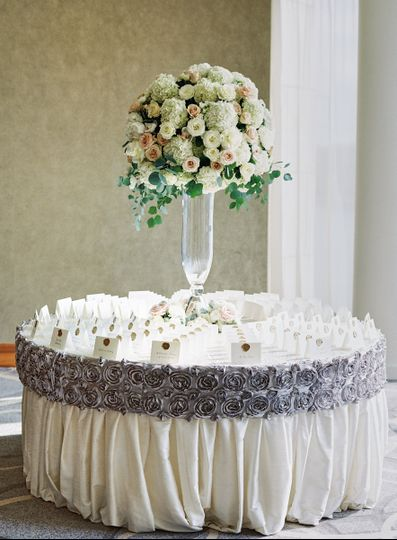 Table cards and floral centerpiece