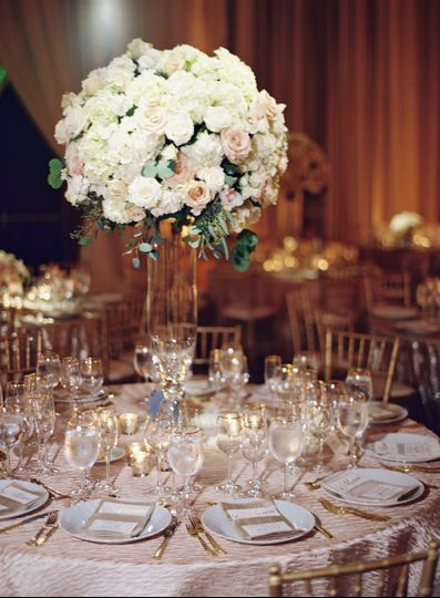 Table setting and floral centerpiece
