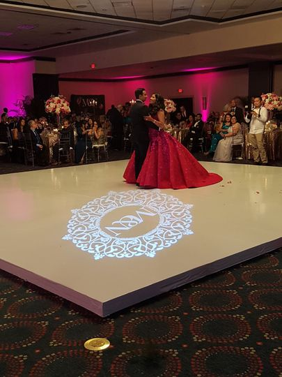Lighted Monogram, All White Dancefloor, Indian Wedding
