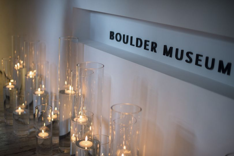 Illuminated Front Entrance to the Boulder Museum of Contemporary Art with Glass Pillars & Floating...