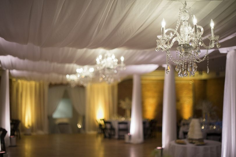Fabric Draping, Crystal Chandeliers & Amber Uplighting Transform the Boulder Museum of Contemporary...