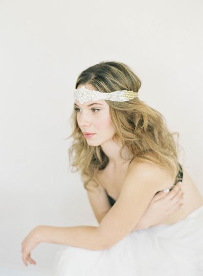 pearl gold silver ombre headpiece vintage hushed c