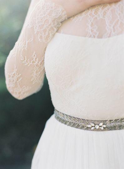 silver leaf and crystal wedding belt hushed commot