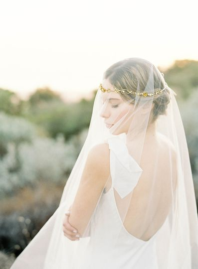 gold floral wreath with veil hushed commotion