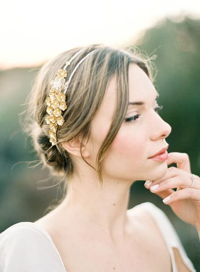 gold rose double headband pearl hushed commotio