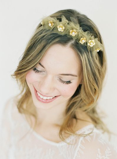 gold flower tulle crown hushed commotio
