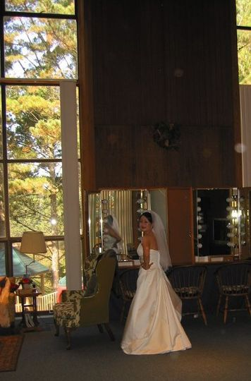 Brides dress in our large Friendship Room with Hollywood mirrors.