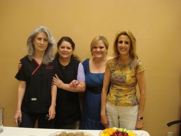 Gwen(Aesthetician), Denise(Aesthetician), Carrie ( Hair Stylist),