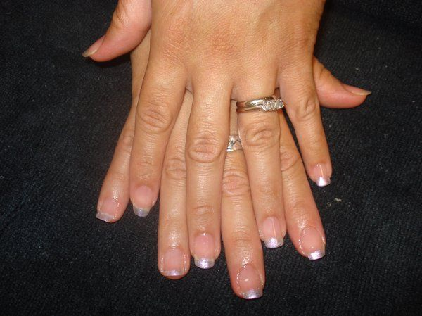 Sparkle White on tips of natural nails.