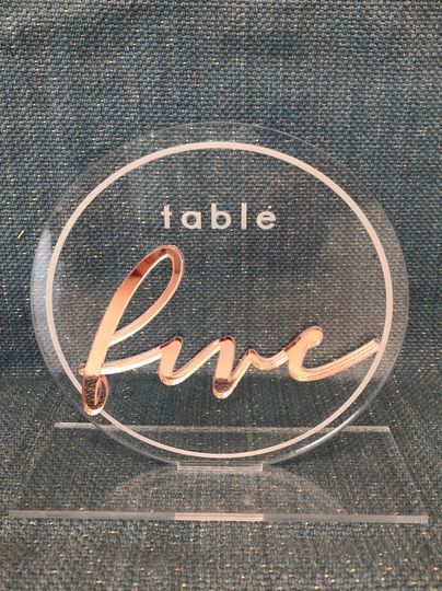 Acrylic table number design