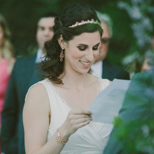 esther earrings on bride