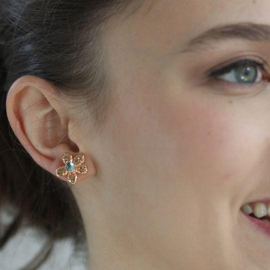 fae earrings rose topaz on model