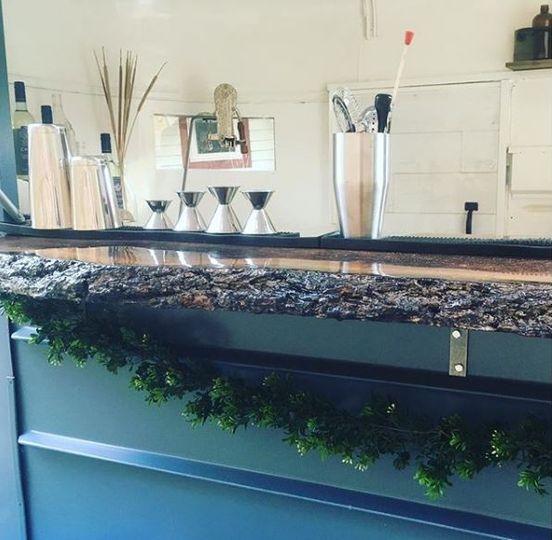 Bar area - live edge bar top
