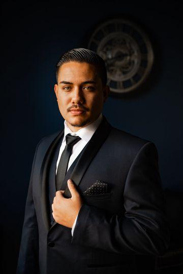 Wearing a tuxedo