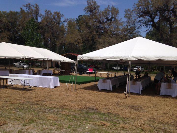 Tents with dancefloor between