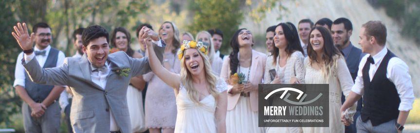 MERRY WEDDINGS | Unforgettably Fun Celebrations Wedding Party Cheering & Laughing Behind Daniel &...