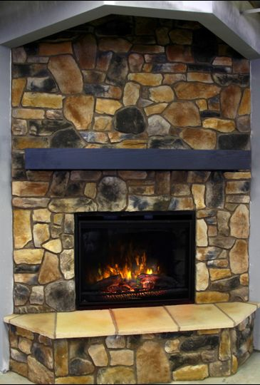 Our stone fireplace is romantic and cozy.