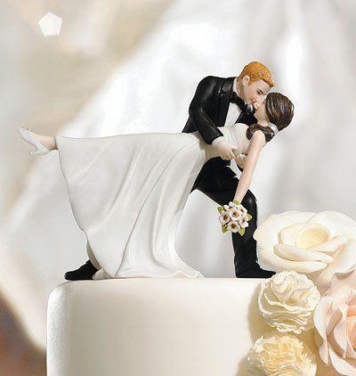 """""""A Romantic Dip"""" Dancing Bride & Groom Cake Topper"""
