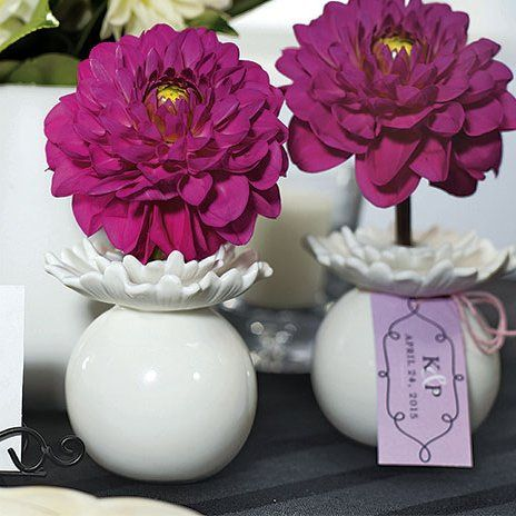"""""""Pretty Petals"""" Porcelain Miniature Flower Vase Favors"""