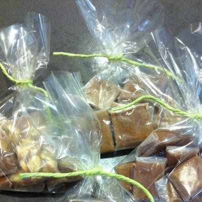shown bagged for individual sale, these caramel varieties would make a great favor for guests