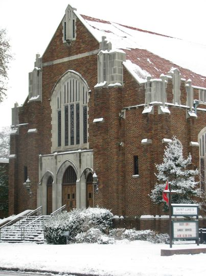 front of church in snow