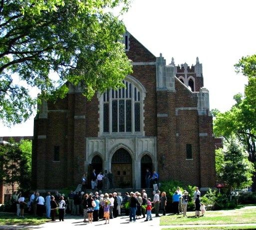 front of church people