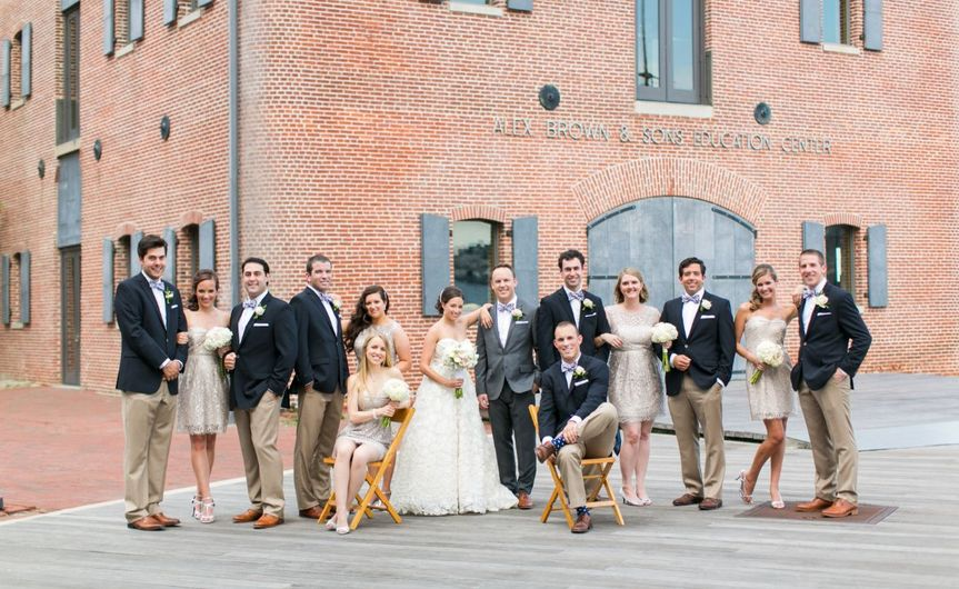 Couple's with bridesmaids and groomsmen