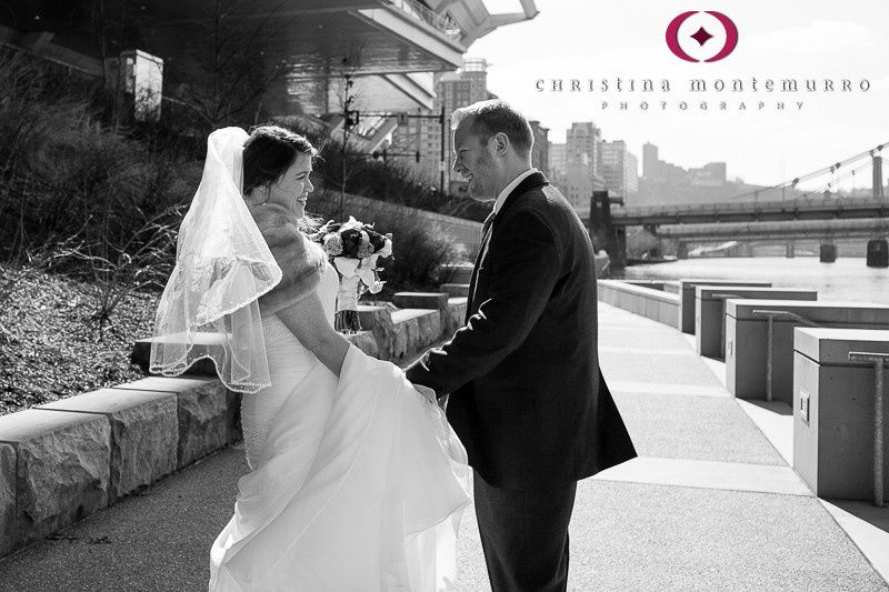 bride and groom first look near david lawrence con