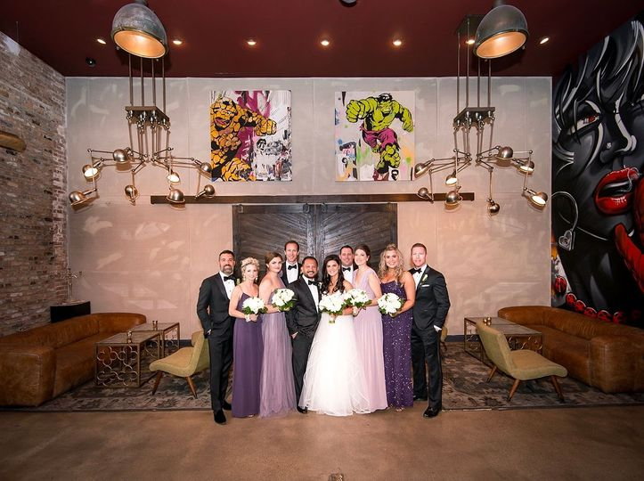 The wedding party in purple