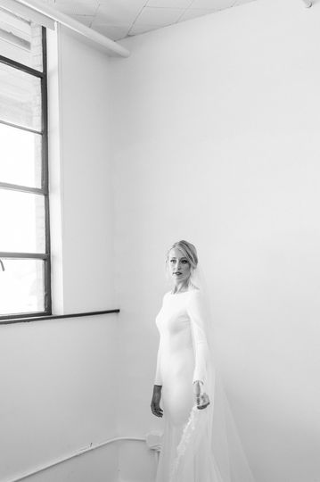 Isolated bridal portrait