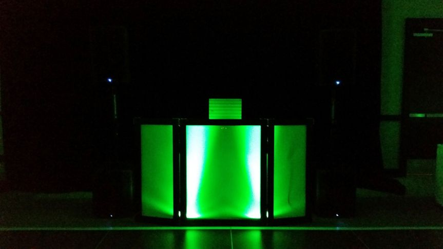 Custom DJ booth can be any color.