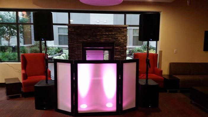 Custom DJ booth with led lighting.