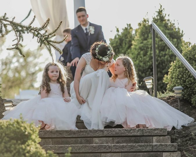The couple and the flower girls