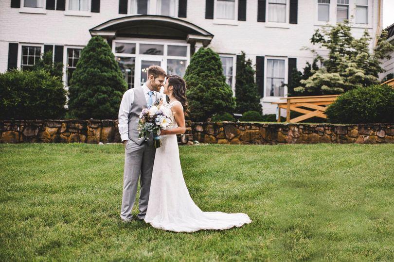 The newlyweds posing