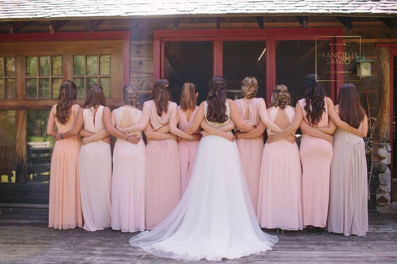 Bridal party facing back