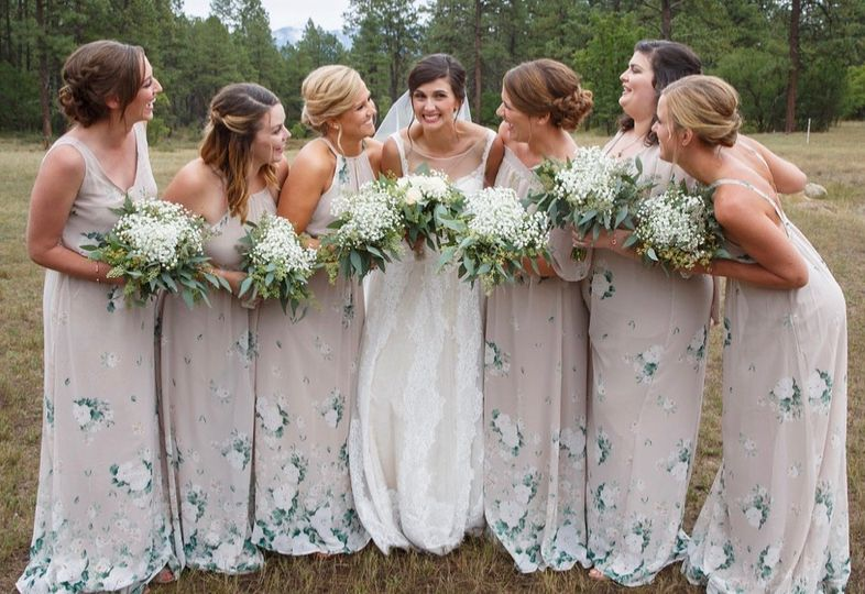 Bridal party with romantic updos