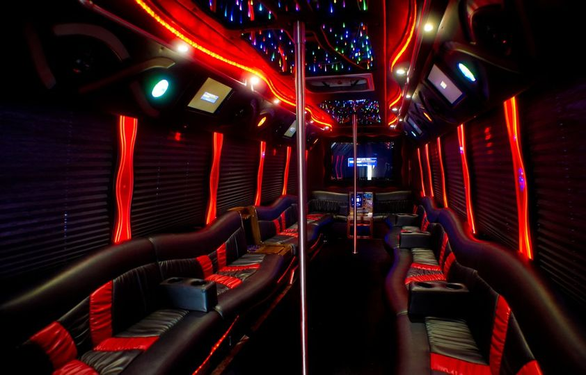 Limo with red neon lights inside