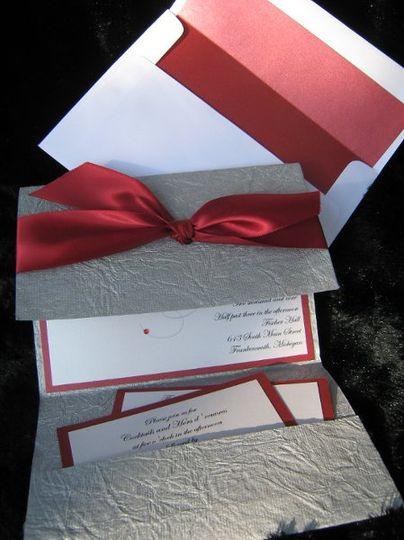 Crimson and silver crinkle tri-fold invitation