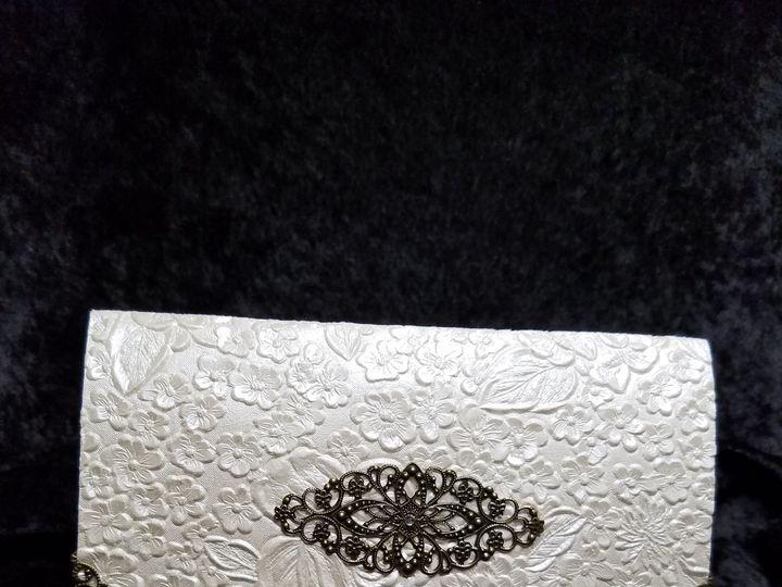 Tmx 1490234127800 Gold Filigree Crinkle Canton, MI wedding invitation