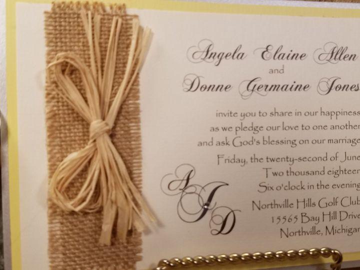 Tmx 1532230823 9072afb4f8af688a 1532230821 A73358f73fec35cb 1532230799544 1 Burlap   Raffia Canton, MI wedding invitation