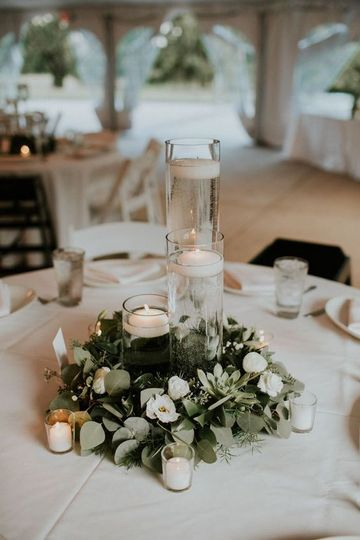 Candles and greenery wreath