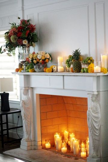 Fireplace fall blooms