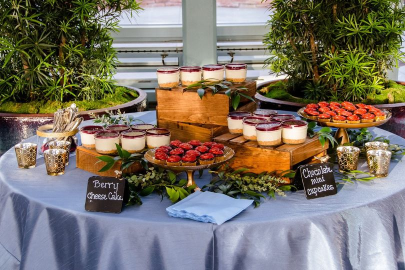 The buffet table setting