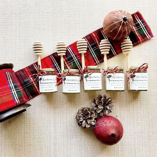 Monterey Gold Honey 2.8 oz jars are the sweetest stocking stuffer or holiday wedding favor!  Photo:...