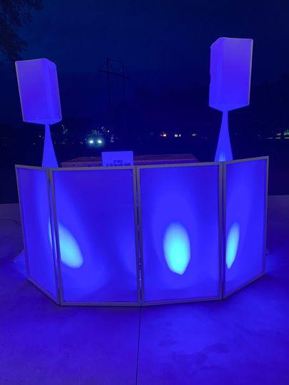 Blue lights DJ booth