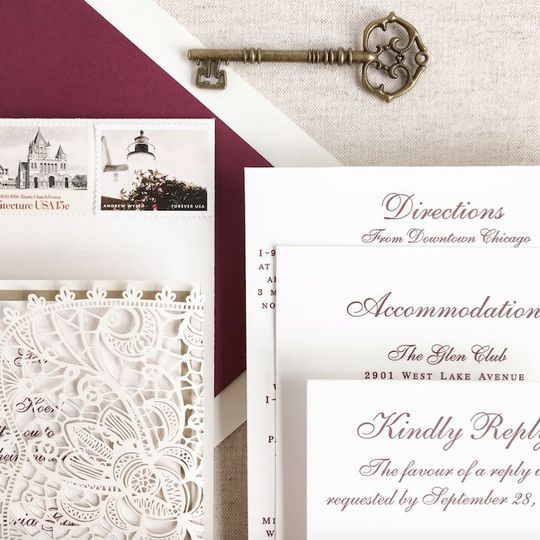 Letterpress wedding invitation suite with laser cut gatefold on100%  cotton stock.