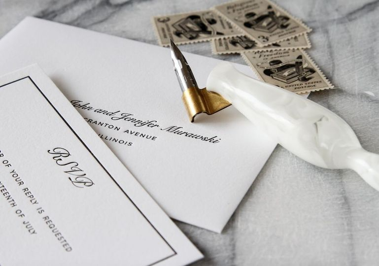 Letterpress wedding invitation suite printed on double thick 100% cotton stock.